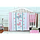 Baby Bedding Crib Set for Girls - Pink Butterfly Nursery Bedding with Crib Bumper, Comforter & Crib Sheet, Ideal Baby Shower Gift, Baby Registry & Baby Essentials