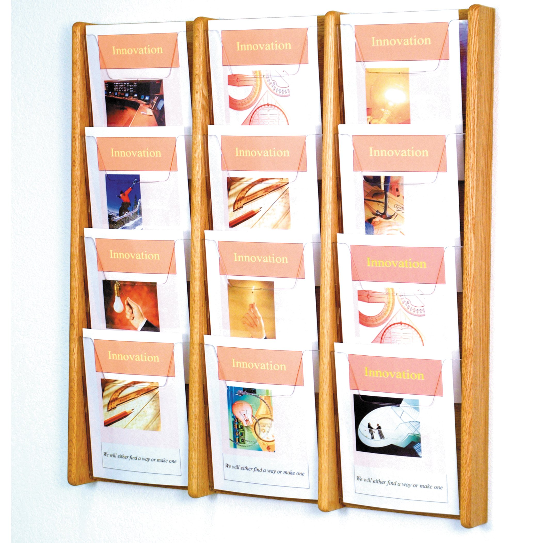 DMD Literature Display, 12 Pocket, Solid Oak and Acrylic Wall Mount Rack, Light Oak Wood Finish