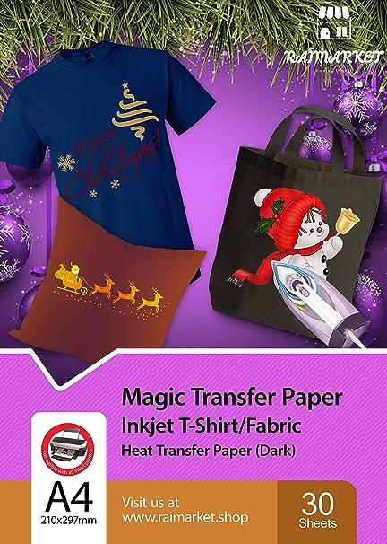 Hierro sobre papel de transferencia para tela oscura (Magic Paper) de Raimarket | 30 hojas | A4 Transferencia de hierro para inyección de tinta en ...