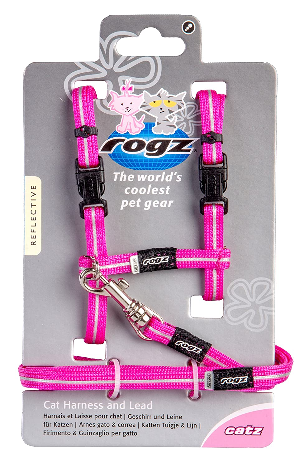 Pet Supplies : Rogz Reflective Nylon Cat Leash and Harness Combination Set, escape proof for walking and fully adjustable to fit most breeds, Pink : Amazon. ...