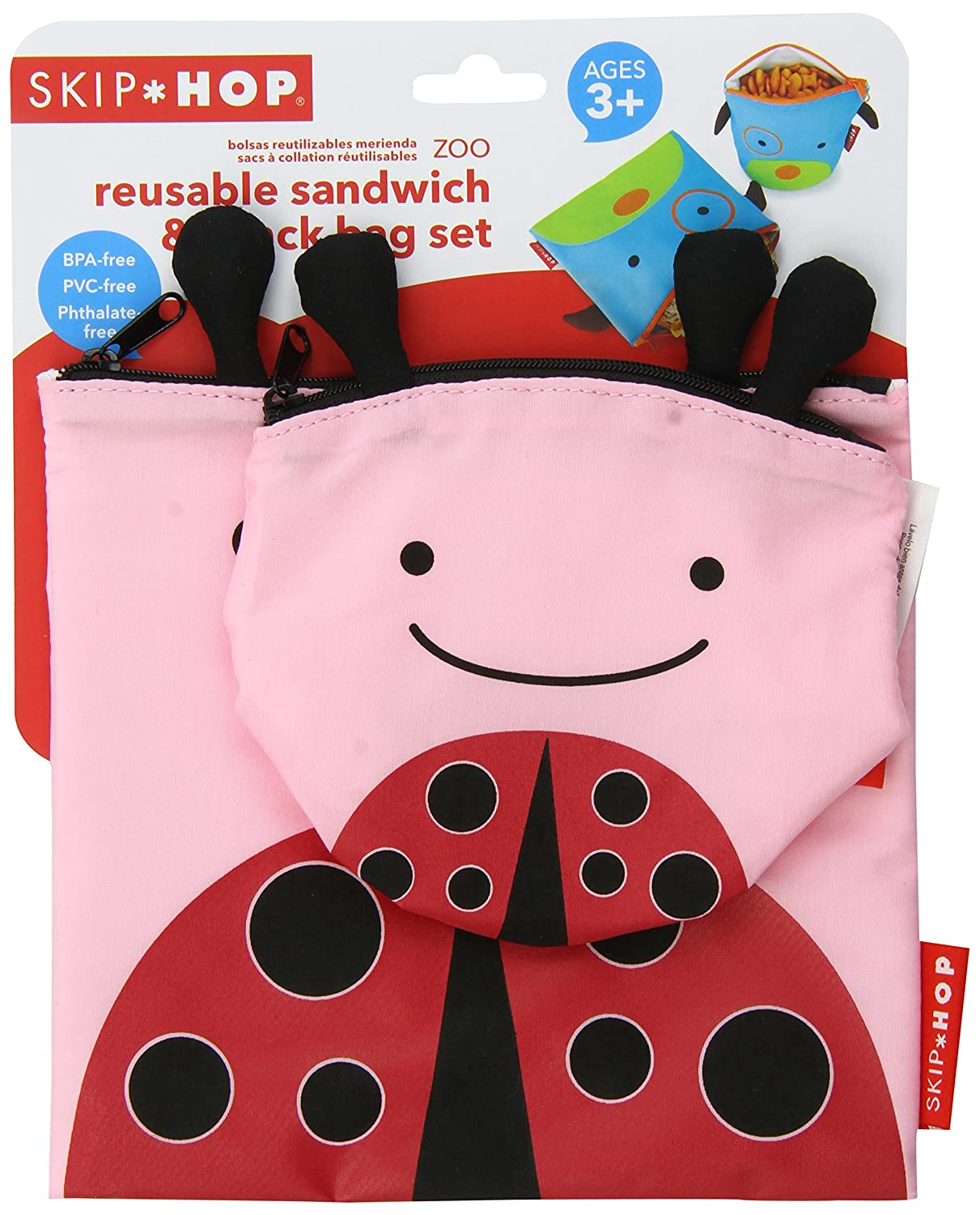 Skip Hop Baby Zoo Little Kid and Toddler 2-Piece Reusable Sandwich and Snack Bag Mealtime Set, Multi...
