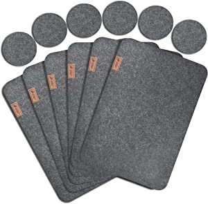 Lexella Placemats for Dining Table Set of 6 Place Mats and 6 Coasters for Drinks - Place Mats for Kitchen Table with Coasters - Set of 12 (Grey)