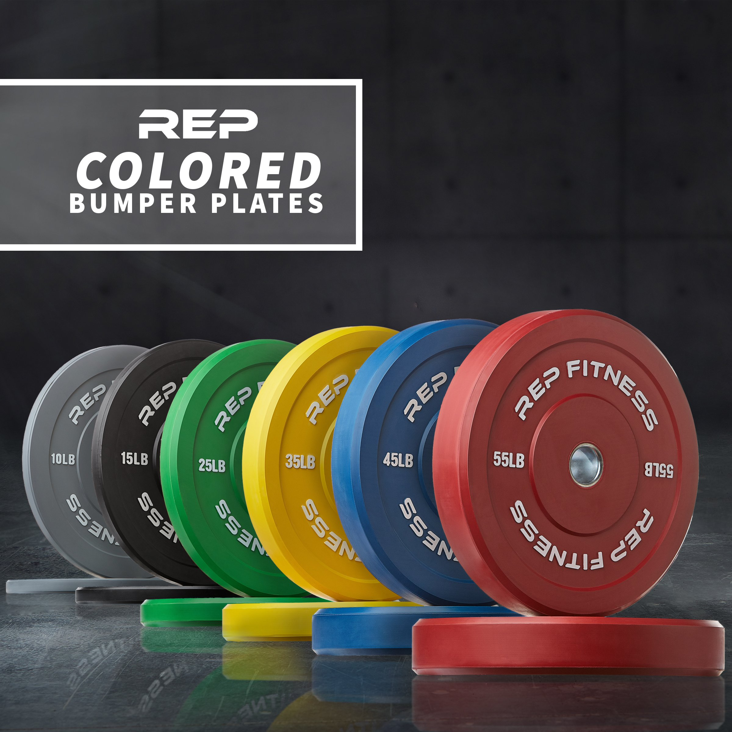 Rep Color Bumper Plates for Strength and Conditioning Workouts and Weightlifting, 35 lb Pair by Rep Fitness (Image #2)