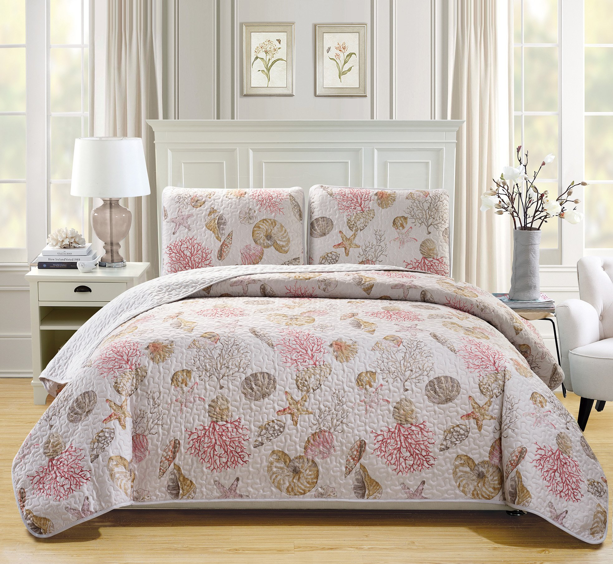 Mk Collection 3pc King Size Bedspread Coverlet Quilted Bedding Seashells Star Fish Coastal Beach Theme Sea Breeze Under The Sea Ocean Pink Beige Red # Seaside New by MK Home (Image #1)