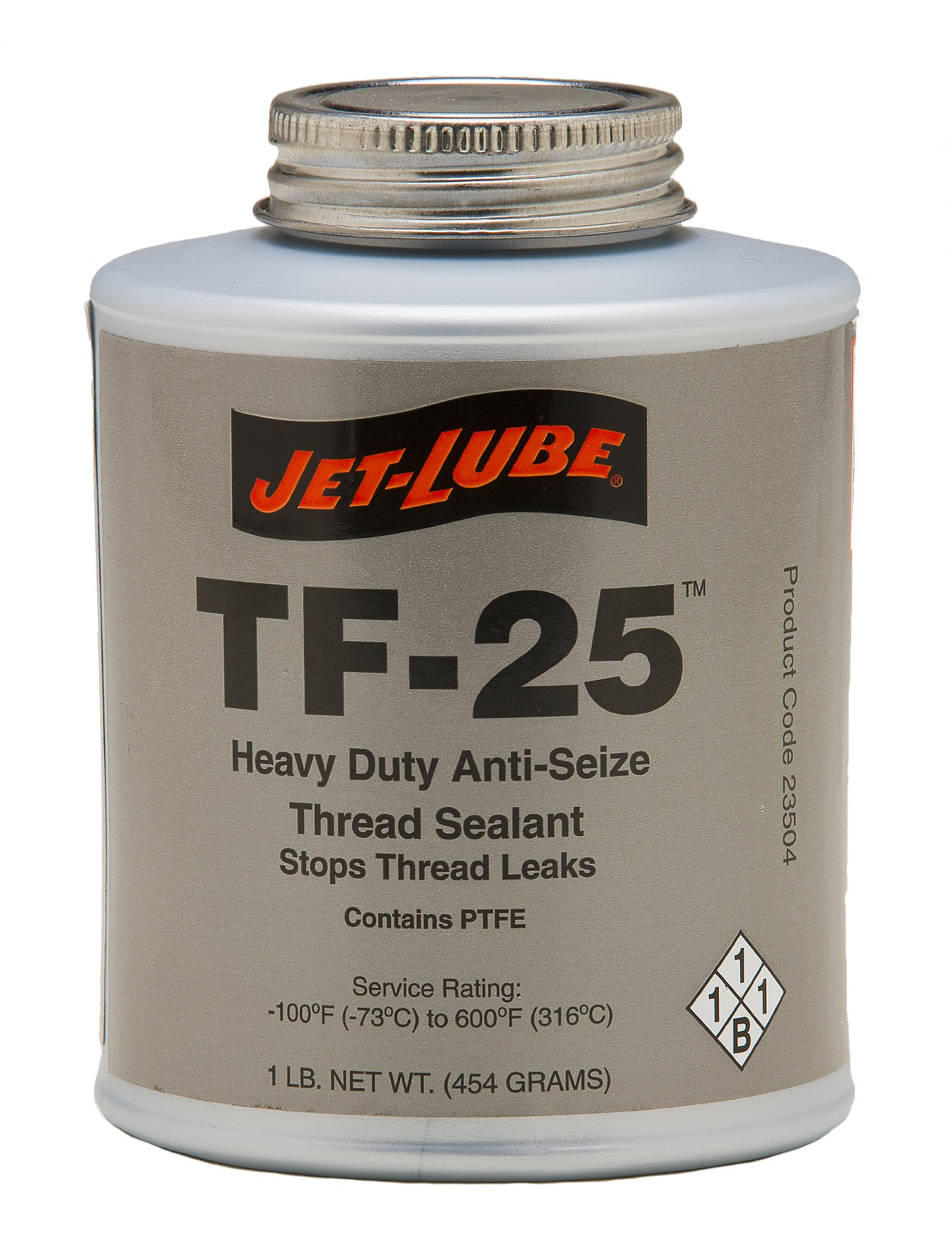 Jet-Lube TF-25 Line Pipe and NTP Anti-Seize Thread Sealant, 1/2 lbs Brush Top Can by Jet-Lube