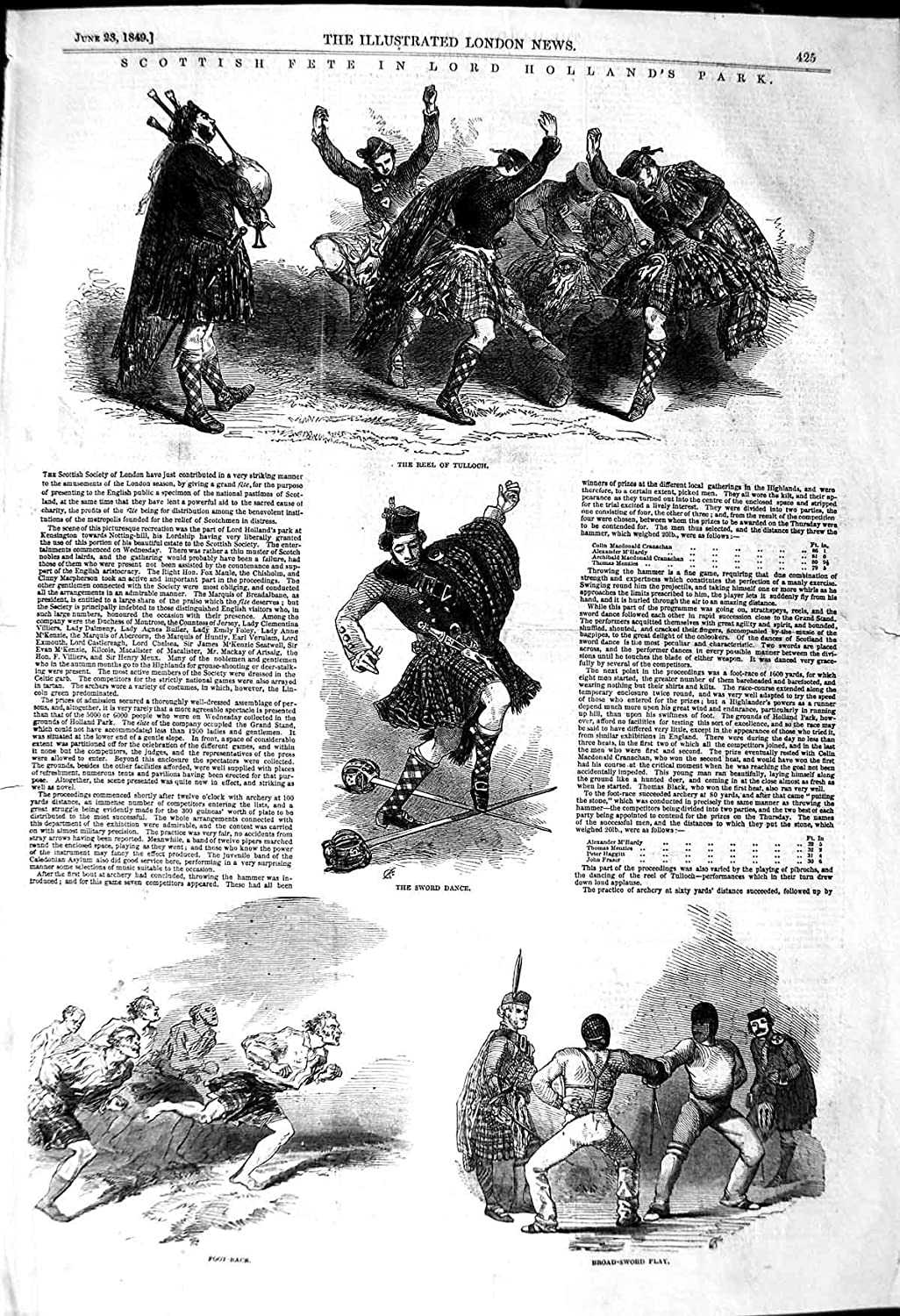Antique Print 1849 Lord Holland'S Park Scottish Dancing Reel Sword 425P114 old-print P1140849425