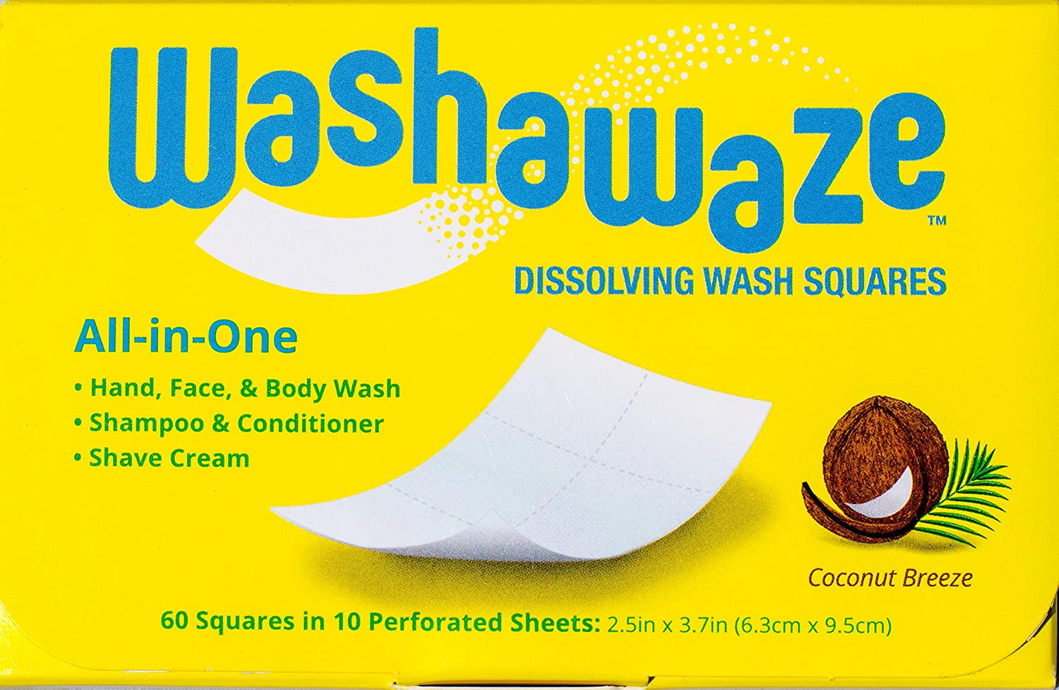 Washawaze All-in-One Dissolving Scented Soap Squares 60 ct 1-Pack – Hand wash, Shampoo, Conditioner, Shave Cream, and Body Wash