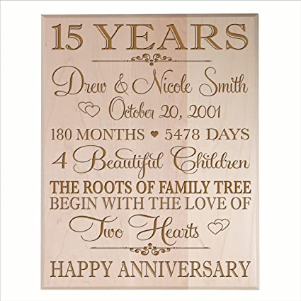 Amazon.com - Personalized 15 year Anniversary Gift for Couple, 15th ...