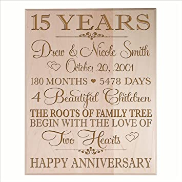Amazon Personalized 15 Year Anniversary Gift For Couple 15th