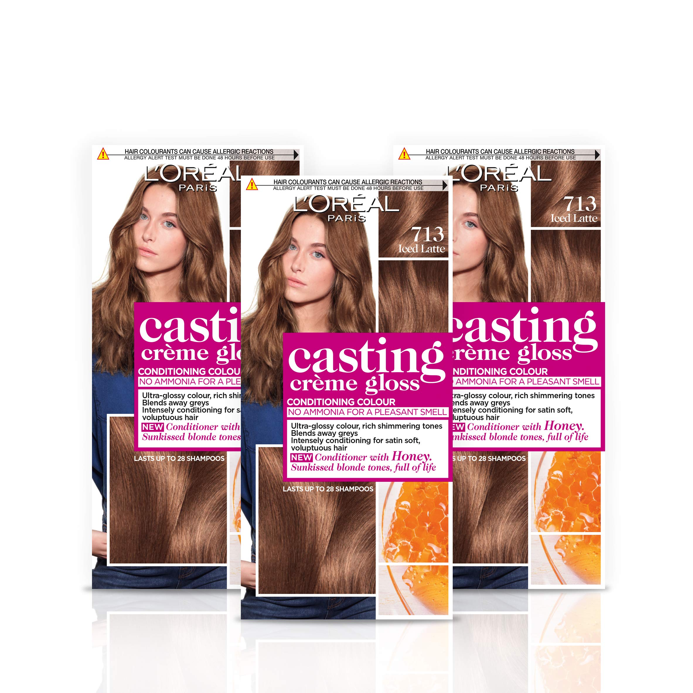 L'Oréal Paris Casting Crème Gloss Semi-Permanent Hair Dye, Ammonia-Free Formula & Honey-Infused Conditioner, Glossy Finish, Colour for Up to 28 Shampoos, Pack of 3, Colour: 713 Iced Latte