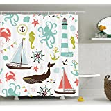 Fabric Shower Curtain by Ambesonne, Whale Shark Seahorse Sea Creatures Rope and Anchor Octopus Coral Crab Marine Lighthouse Ocean Theme Home Decor Bathroom Nautical Coastal, Coral Turquoise Brown