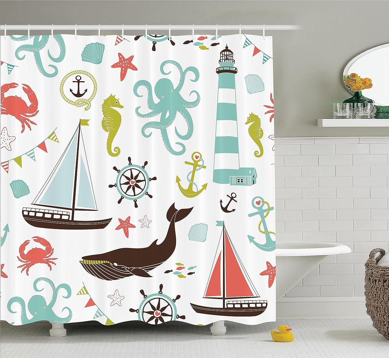 Shower Curtain Beach Nautical Lighthouse Sailboat Whale Bathroom