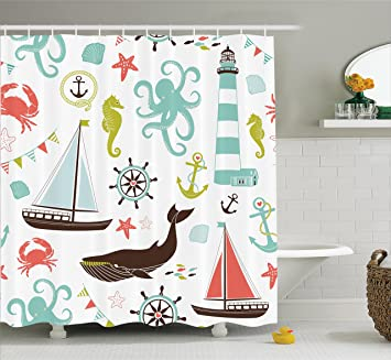 fabric shower curtain by ambesonne whale shark seahorse sea creatures rope and anchor octopus coral