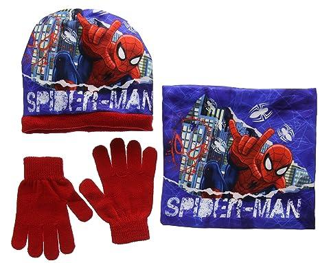 Marvel Spiderman in The City, Ensemble Bonnet, écharpe et Gant Garçon,  Rouge ( 652095b338e