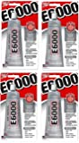 E6000 230010 Craft eoMfPK Adhesive, 3.7 Fluid Ounces (Pack of 4)