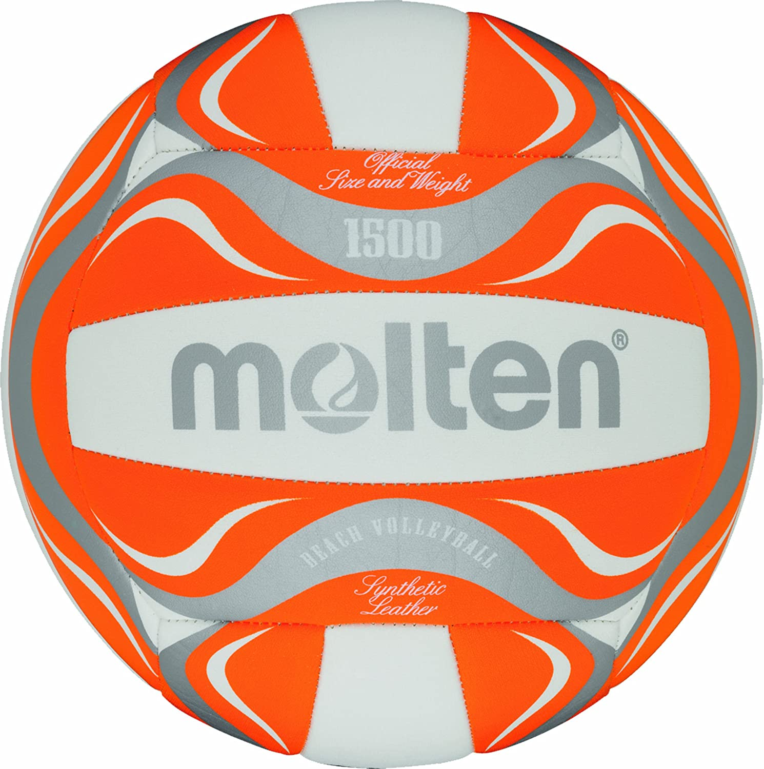 Molten BV1500-OR Balle de Beach Volley Blanc/orange/argenté 5