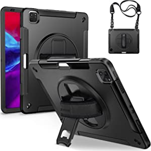 GROLEOA Case for 2020 iPad Pro 12.9 inch (4TH GEN) - Upgraded Military Grade Shockproof Armor Protection Cover - Wireless Apple Pencil Charging - Swivel Kickstand - Ultra Portable Hand/Shoulder Strap