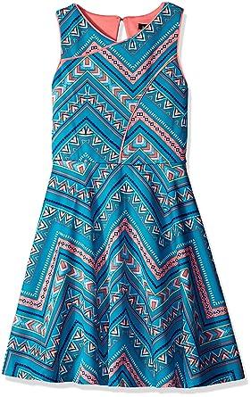 5cd3259fb0e ZUNIE Girls' Big Sleeveless Aztec Printed Scuba Skater Dress, Jade/Coral,  ...