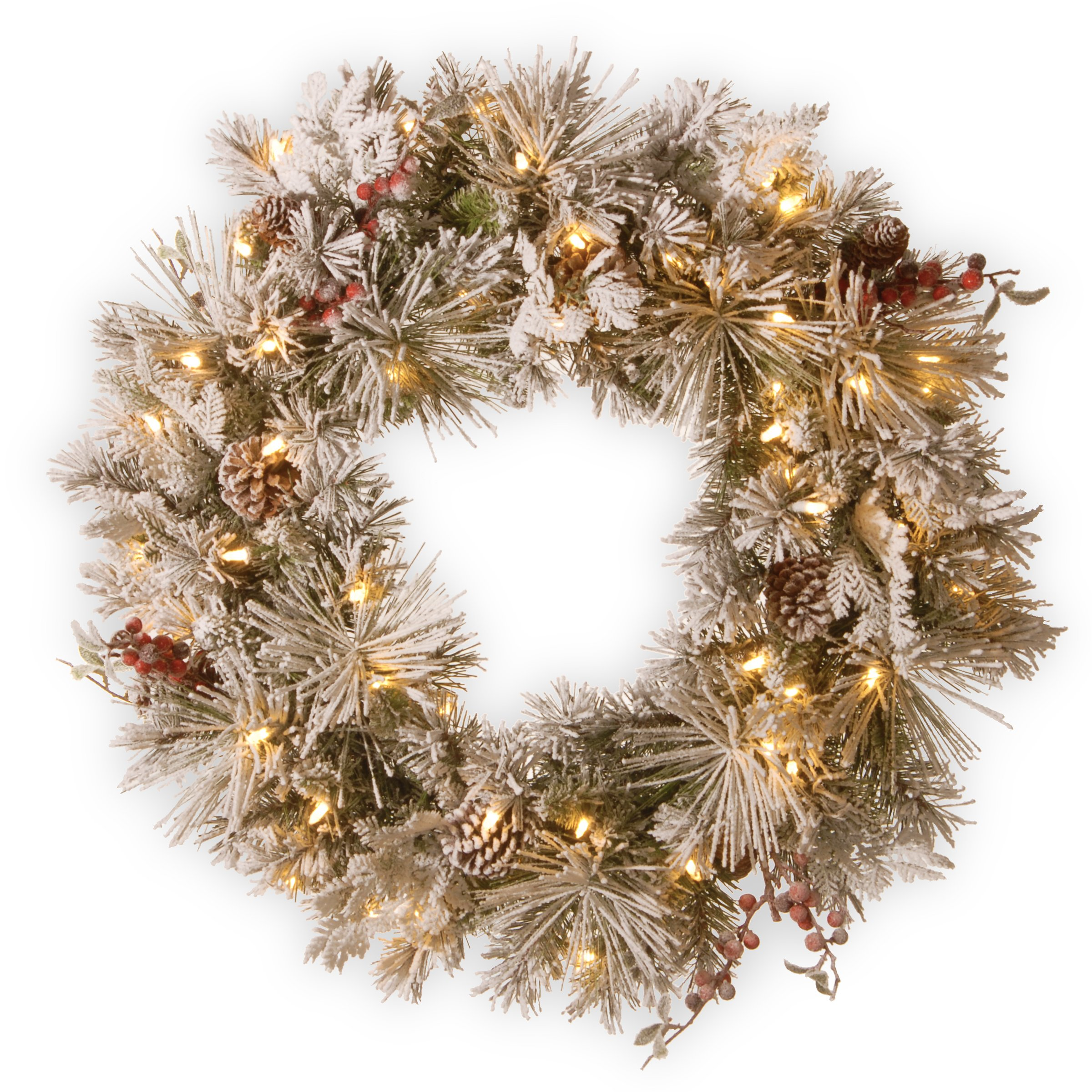 National Tree 30 Inch Snowy Bedford Pine Wreath with Cedar Leaves, Berries, Mixed Cones and 70 Battery Operated Warm White LED Lights with Timer (SBE1-308-30WBC1)