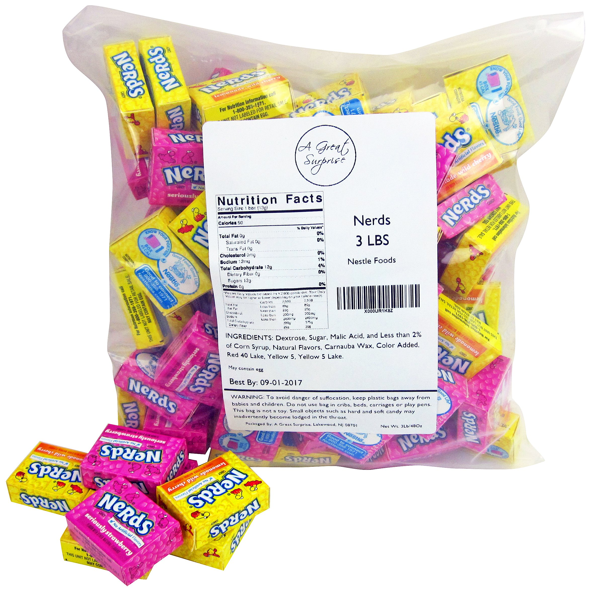 Nerds Candy - Wonka Nerds Mini Boxes, Strawberry and Lemonade Wild Cherry Assortment, 4 LB Box Bulk Candy (Approx. 100 Mini Boxes) by A Great Surprise (Image #2)