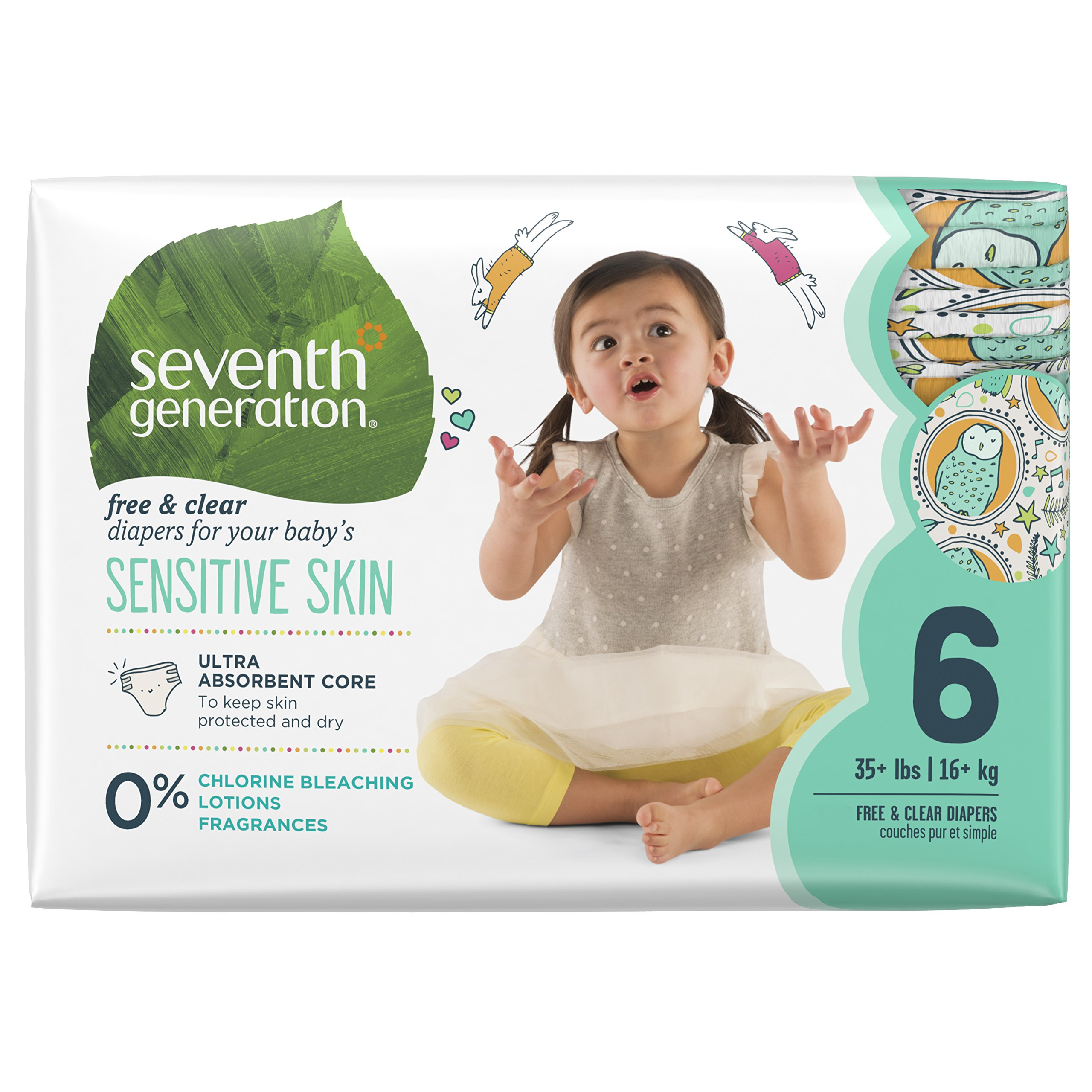 Seventh Generation Baby Diapers, Free & Clear for Sensitive Skin with Animal Prints, Size 6, 100 count (Packaging May Vary)