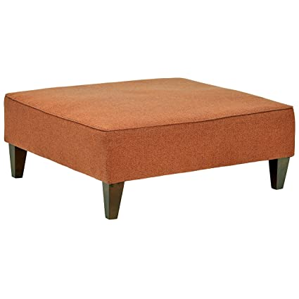 Fantastic Rivet Modern Oversized Upholstered Square Ottoman 38W Russet Machost Co Dining Chair Design Ideas Machostcouk