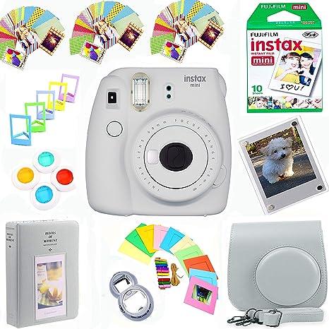 Fujifilm Instax Mini 9 Film Camera (Smokey White) + Film Pack(10 Shots) + Pleather Case + Filters + Selfie Lens + Album + Frames & Stick-on Frames Exclusive Instax Design Bundle: Amazon.es: Electrónica