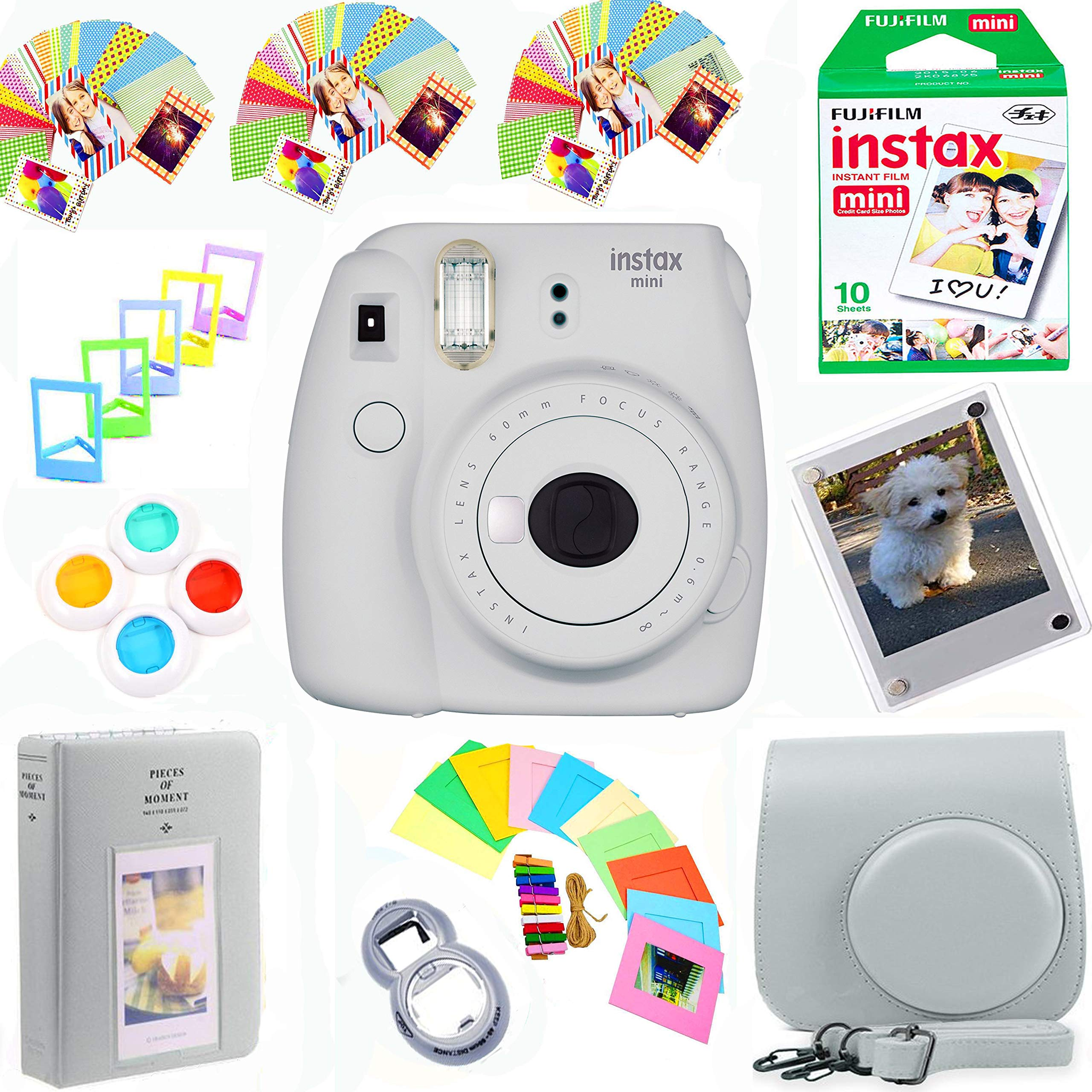 Fujifilm Instax Mini 9 Film Camera (Smokey White) + Film Pack(10 Shots) + Photix Pleather Case + Filters + Selfie Lens + Album + Frames & Stick-on Frames Exclusive Instax Design Bundle