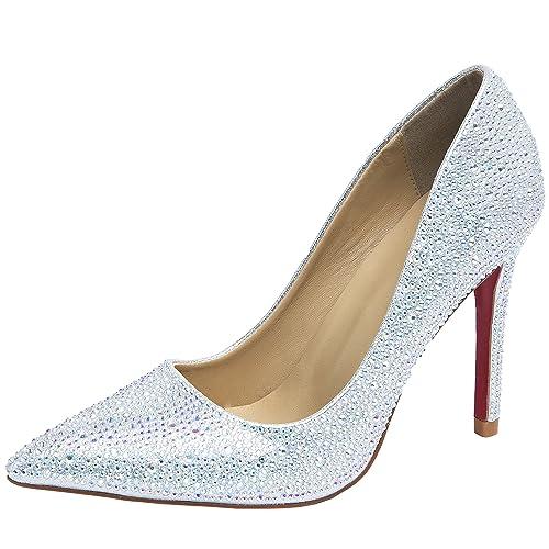De Hooh Mujer Pie Del Zapatos Tacón Bling Diamantes Puntiagudo Dedo tQsrdxhC