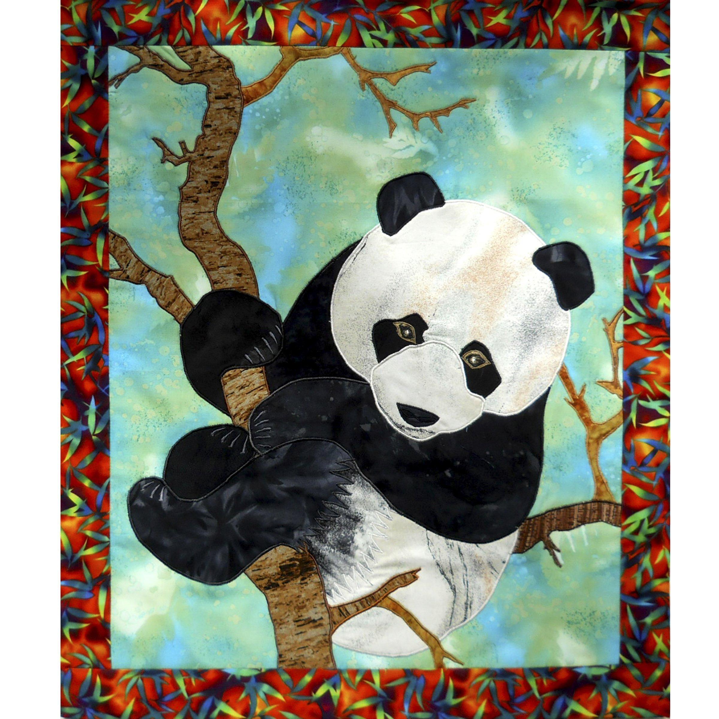 Original Textile Wall Hanging Animal Art Quilt, Panda Bear Tapestry, OOAK Home Child Room Decoration