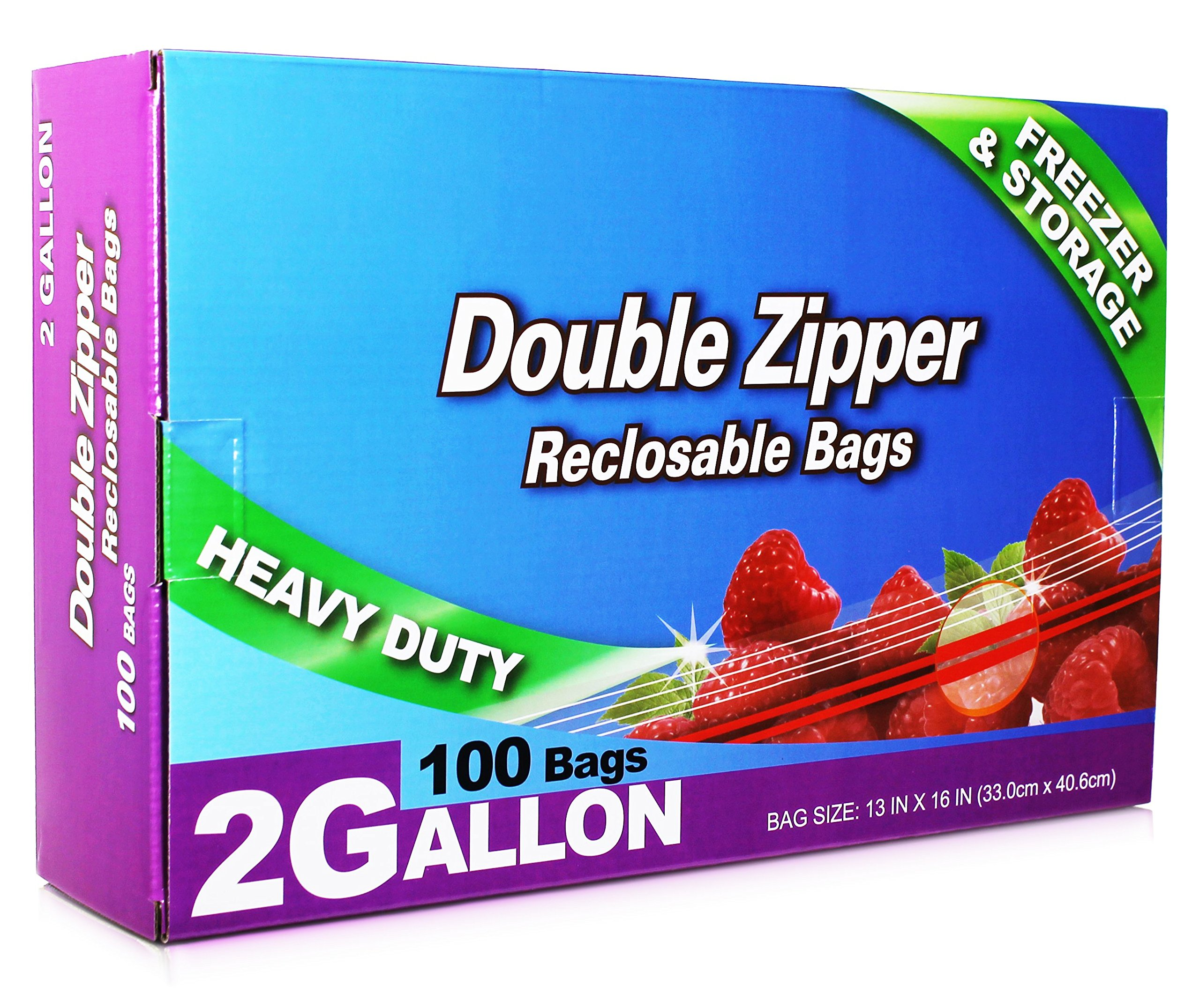 Neaties Heavy Duty 2 Gallon Double Zip Lock Bags for Kitchen or Storage, 13''x16'', 100pcs