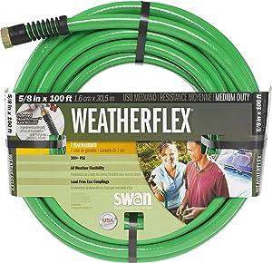 "Swan Products SNWF58100 WEATHERFLEX Medium Duty All Temperature Use Garden Hose 100' x 5/8"", Green"