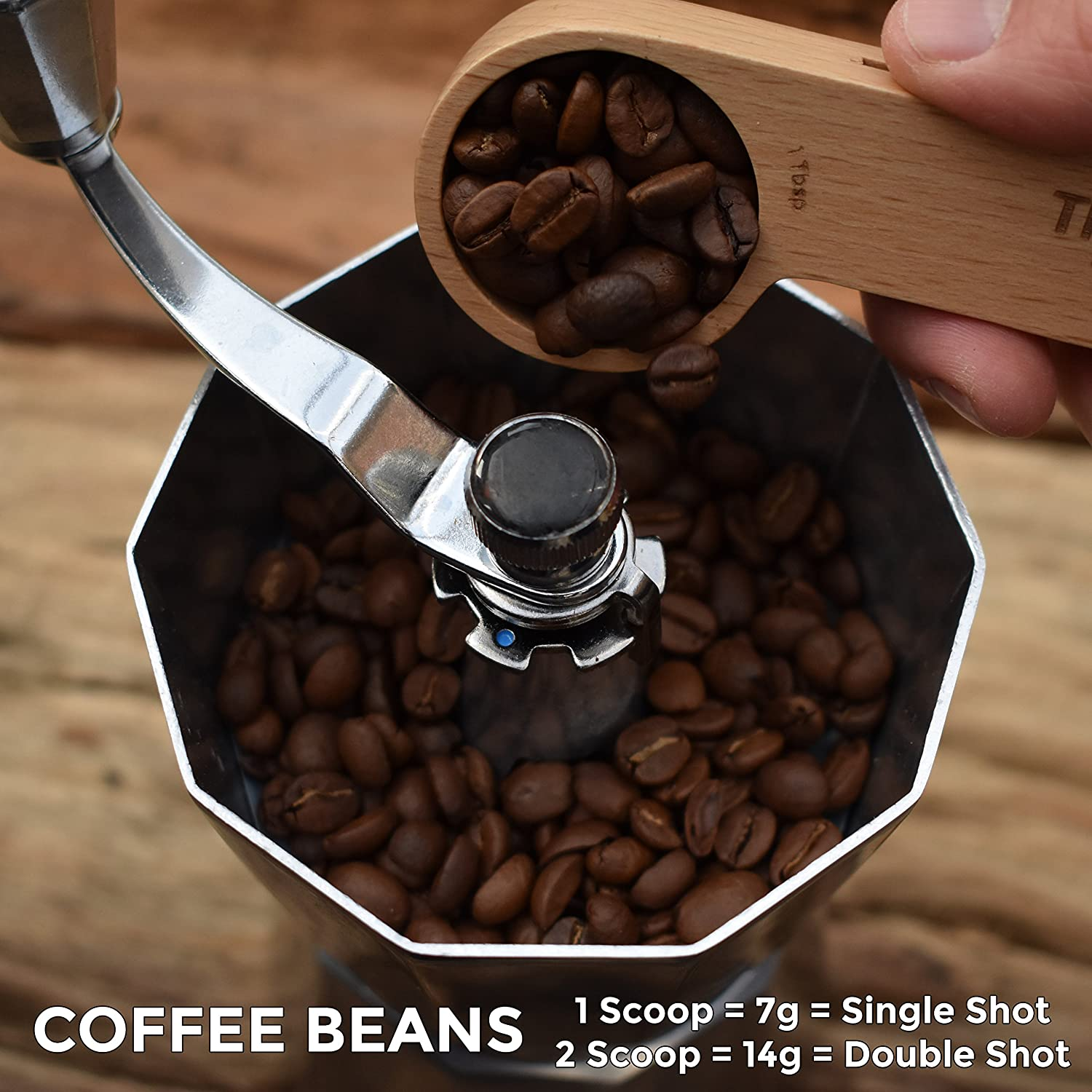 Espresso Coffee Bags Sealer Coffee Beans and Loose Tea by The Urban Element 1 Tablespoon Solid Beech Wood Measuring Scoop Suitable for Ground Beans Wooden Coffee Scoop and Bag Clip