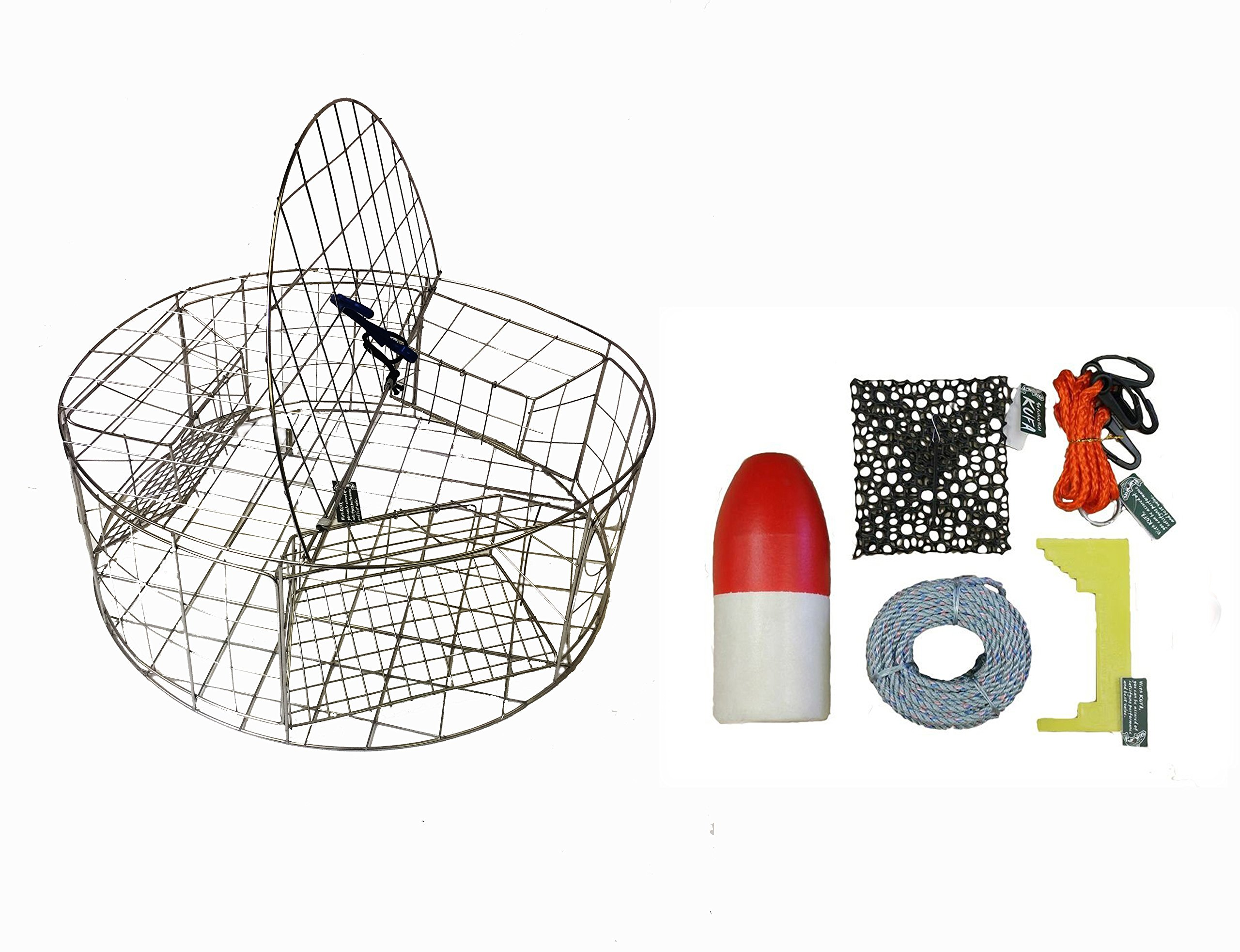 KUFA Stainless Steel Round Crab Trap with sacrificial anode Zinc & 5/16 x100' leaded rope,11'' Red/White float,Harness,Caliper,Bait Bag Combo (CT120+CAC3+ZIN1)