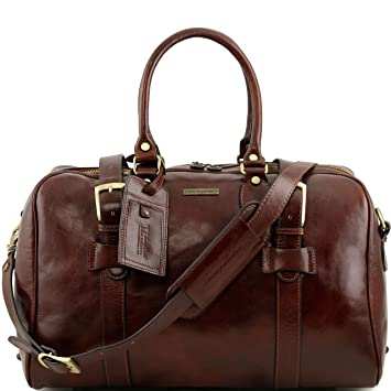 Tuscany Leather - Sac de voyage en cuir avec boucles - Petit modèle - Marron foncé L8WBb0l