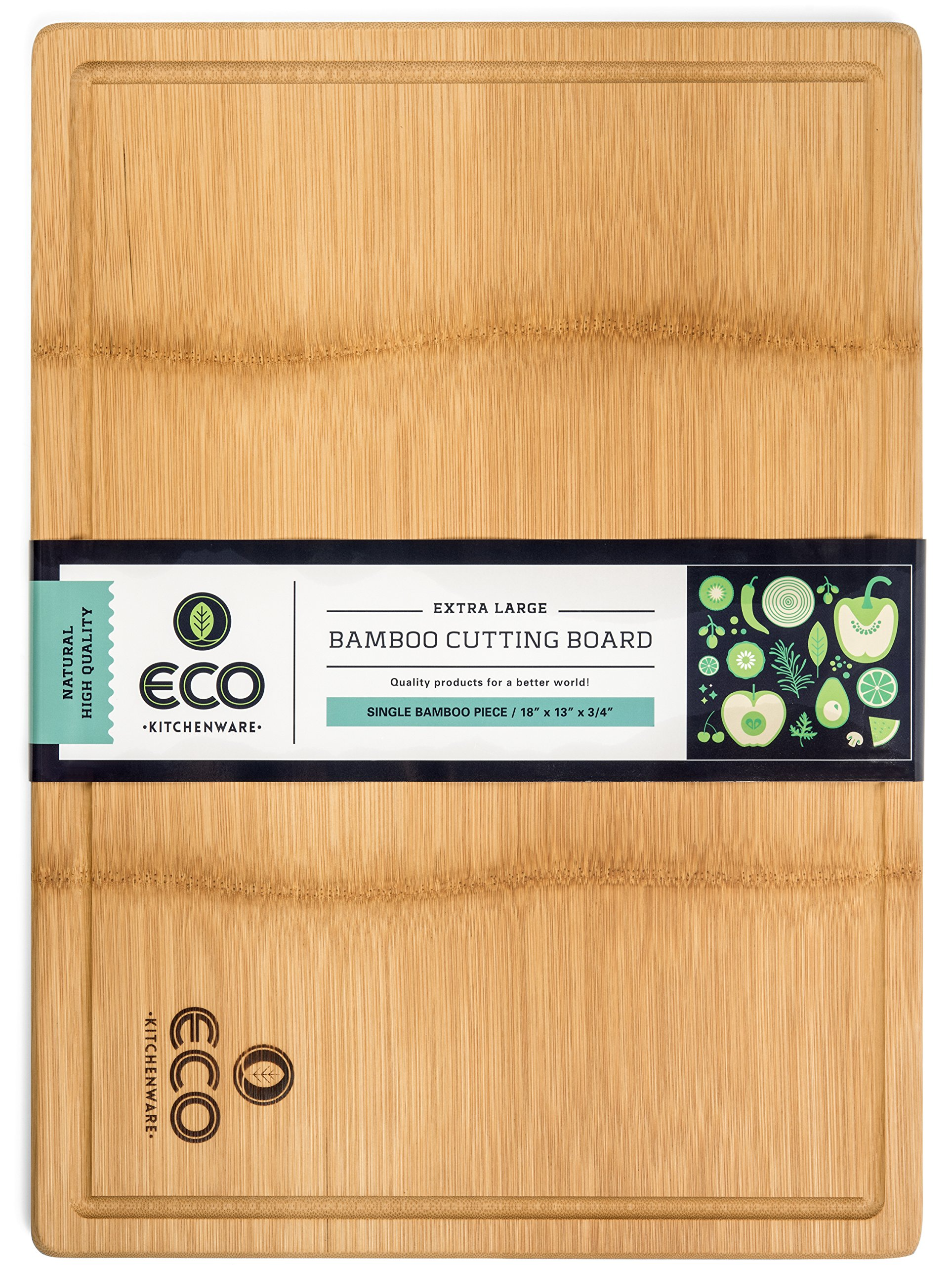 Extra Large Single Piece Surface Bamboo Wood Cutting and Chopping Board 18x13'' with Drip Groove by Eco Kitchenware