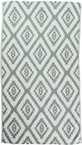 Bersuse 100% Cotton Zipolite Dual-Layer Handloom Turkish Towel, 37X70 Inches, Silver Gray/Mint