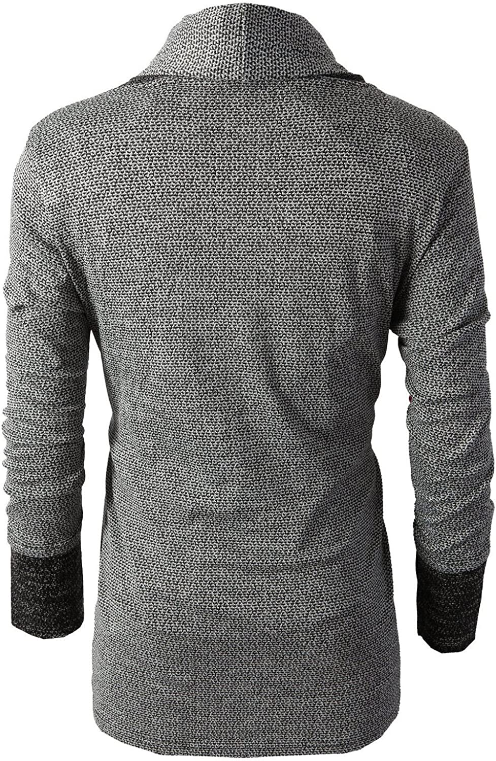 Brinny Men Cardigan Shawl Collared Open Cable Chunky Knited Sweater Placket Long Line