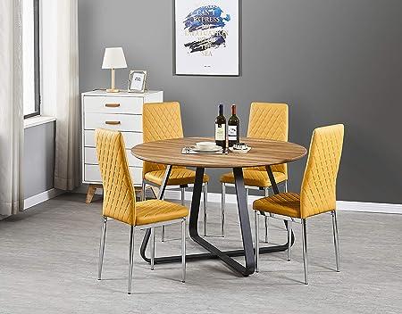 Furniturebox UK Santorini - Juego de Mesa de Comedor y 4 sillas de Comedor Milan Modernas de Piel cromada: Amazon.es: Hogar