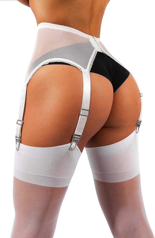 sofsy Medias Sheer Thong de Garter y cinturones de ligueros Plain 15 Den Hechos en Italia /¡por favor note que liguero y bragas no est/án includas!