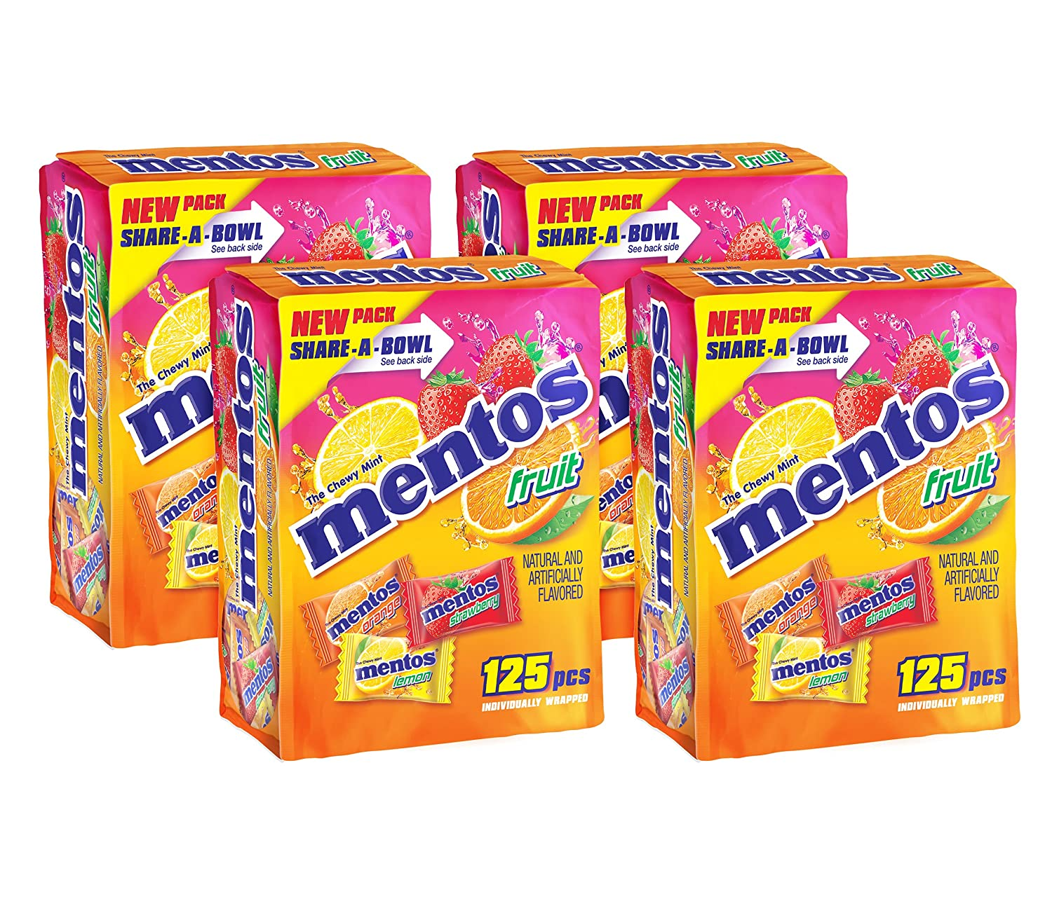 Mentos Chewy Mints in Assorted Fresh Fruit Flavor - Strawberry / Orange / Lemon - Non Melting, 125 Individually Wrapped Pieces, 125 Count (Pack of 4)