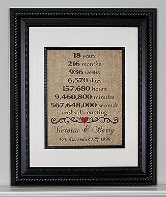 Eighteenth Anniversary Burlap, Eighteenth Year Married, 18th Anniversary, Eighteen Year Anniversary, Burlap Print, Burlap Sign, Personalized Anniversary