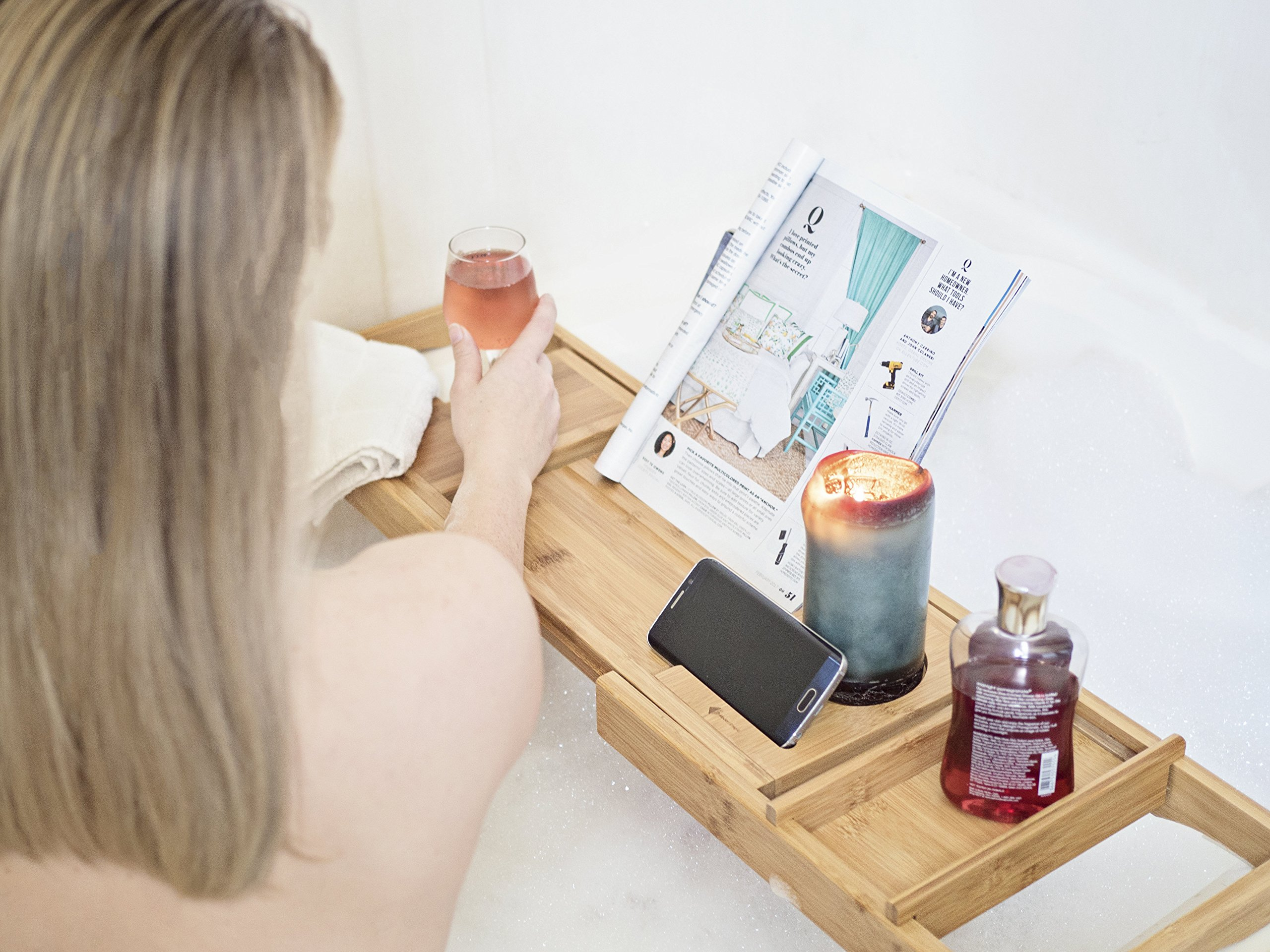 ModernTropic Home and Spa Bamboo Bathtub Caddy and Tray Expandable Non-Slip Wooden Bath Tray Securely Holds Drinks, Book/Tablet, Accessories, Phone by ModernTropic (Image #3)