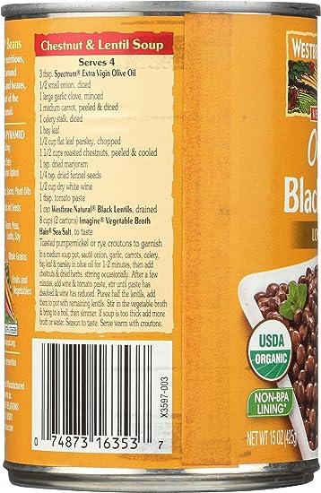 Black Lentils, 15 Ounce (Pack of 12) : Westbrae Natural