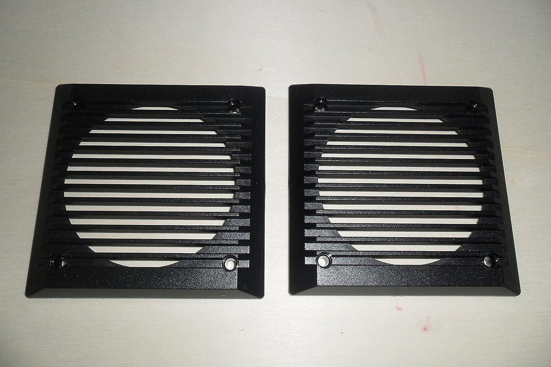 Coppia griglie quadrate in plastica grigie per altoparlanti di diametro 100 mm. Disponibili anche di colore nero. Card Italia srl