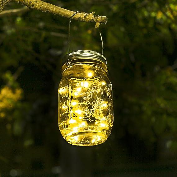 Solar Laterne 20Leds Lichterkett Glas Hängeleuchte Outdoor Sol Mason Jar Licht