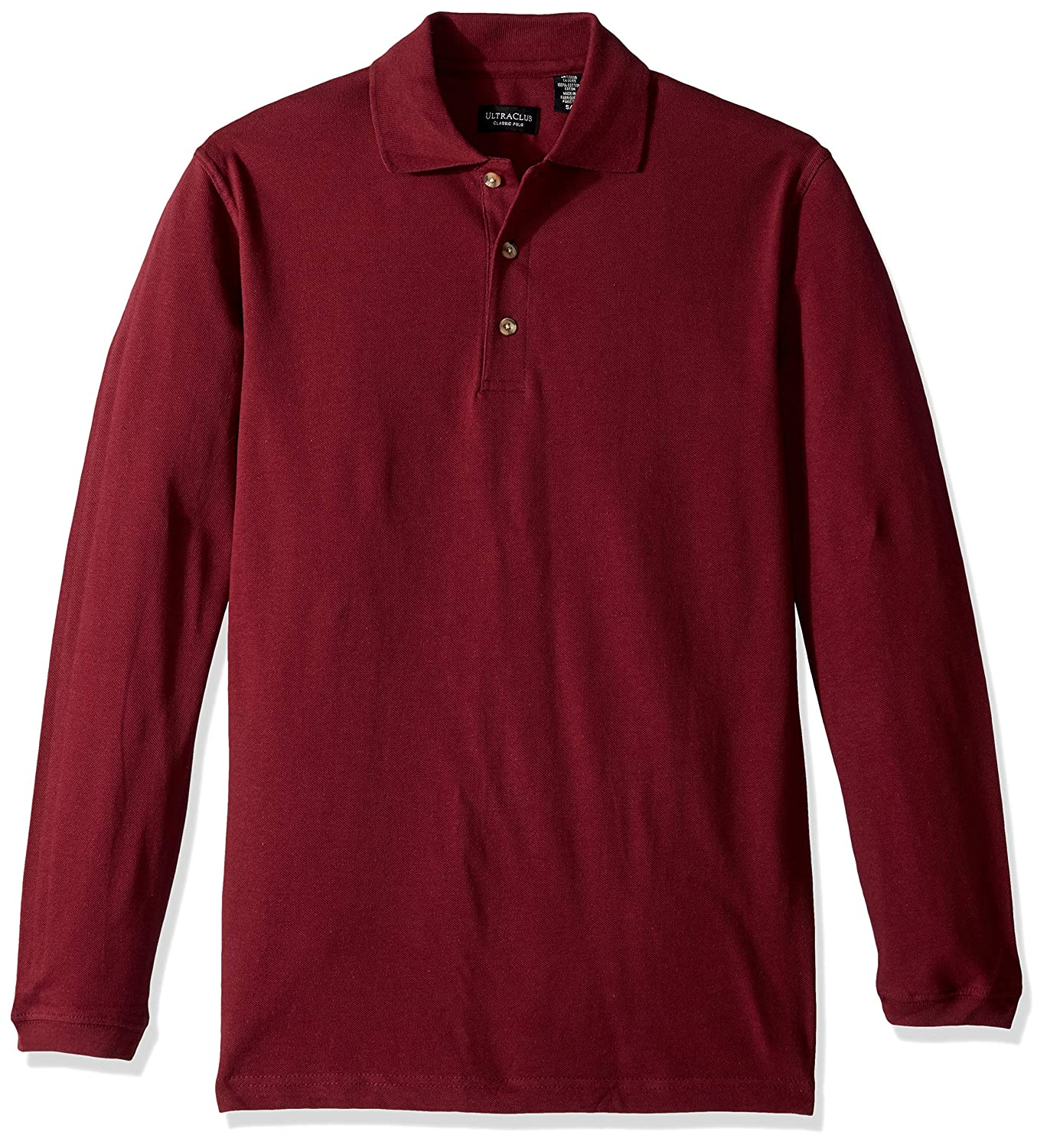 UltraClubs Mens Long-Sleeve Classic Pique Polo