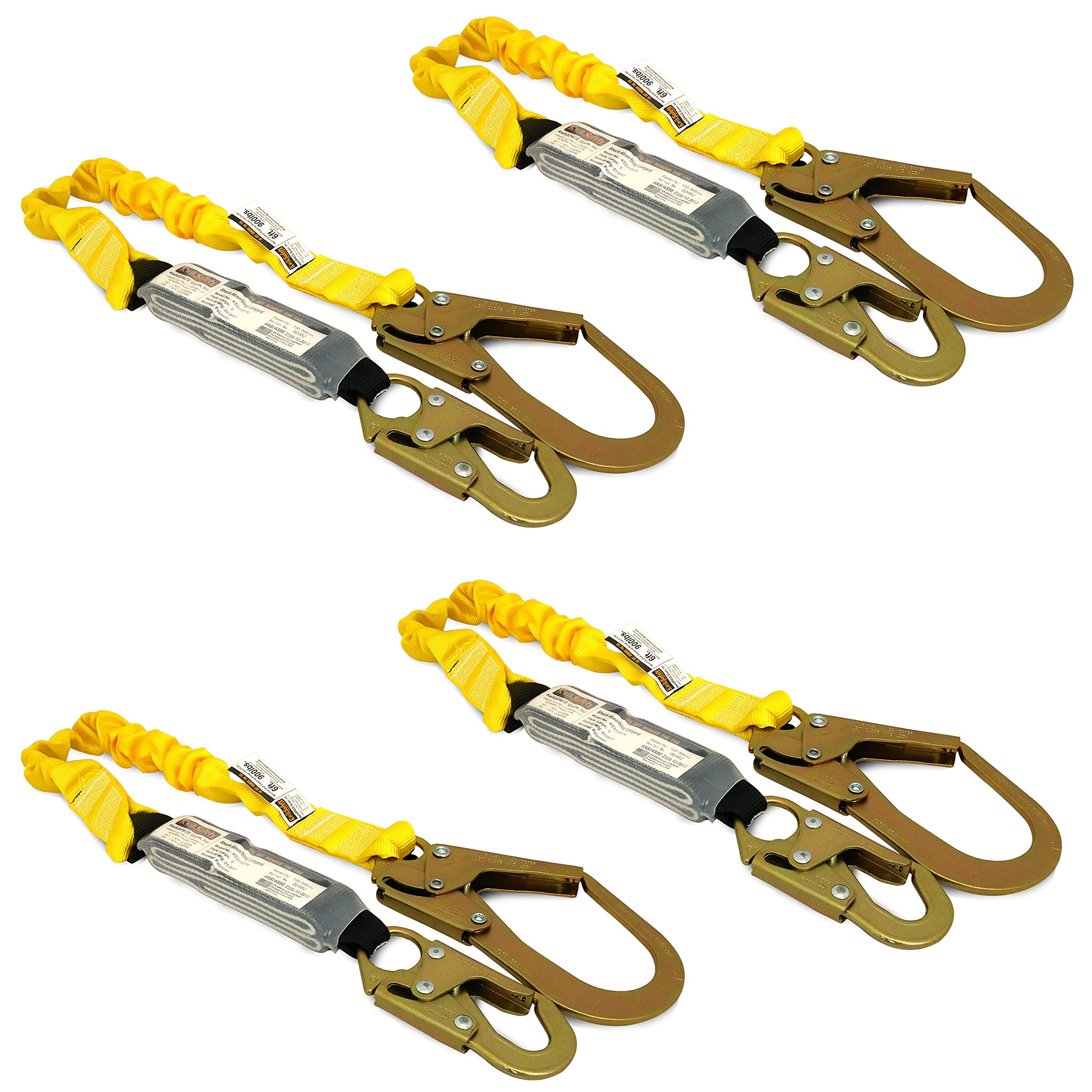 KwikSafety (Charlotte, NC) BOA 4 PACK (External Shock Absorber) Single Leg 6ft Safety Lanyard OSHA ANSI Fall Protection Restraint Equipment Snap Rebar Hook Connectors Construction Arborist Roofing by KwikSafety (Image #1)