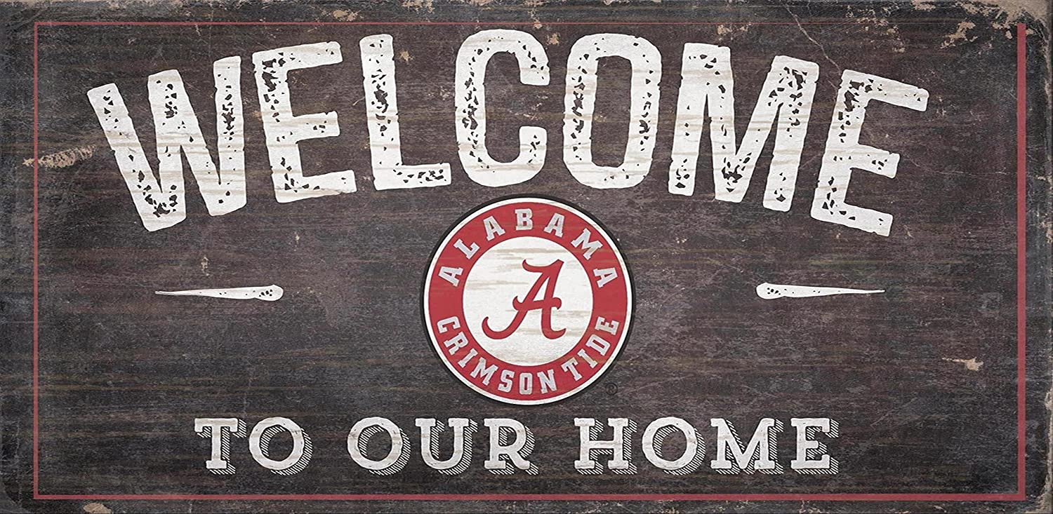 "Fan Creations NCAA Alabama Crimson Tide 12"" x 6"" Distressed Welcome to Our Home Wood Sign"