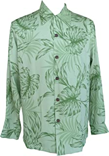 product image for Paradise Found Mens Monstera Palm Kamehameha Style Long Sleeve Shirt Kiwi Green XL
